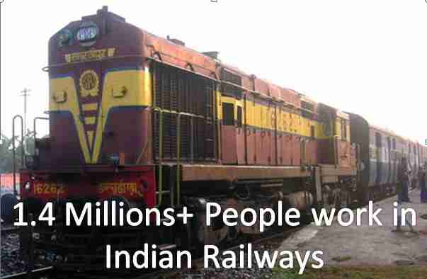 1.4 millions people work in indian railways