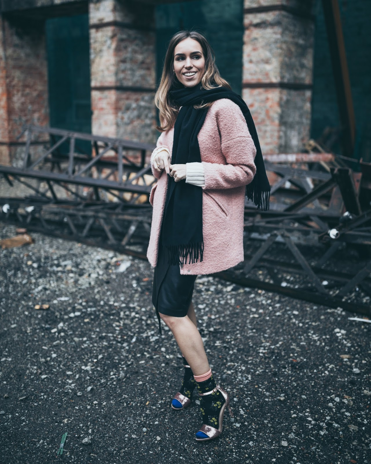 sandals with socks outfit winter skirt
