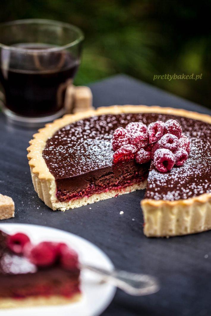 Chocolate tart with raspberries 2