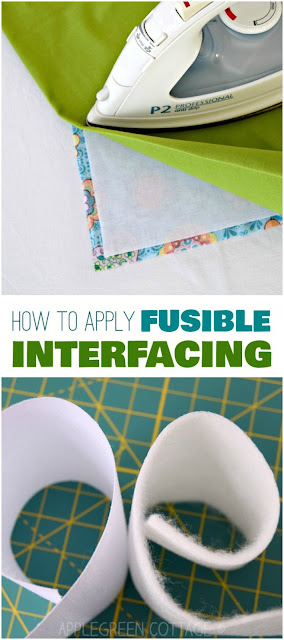 How to apply fusible interfacing - add interfacing or stabilizer to stiffen your fabric. Beginner sewing tip at AppleGreen Cottage.