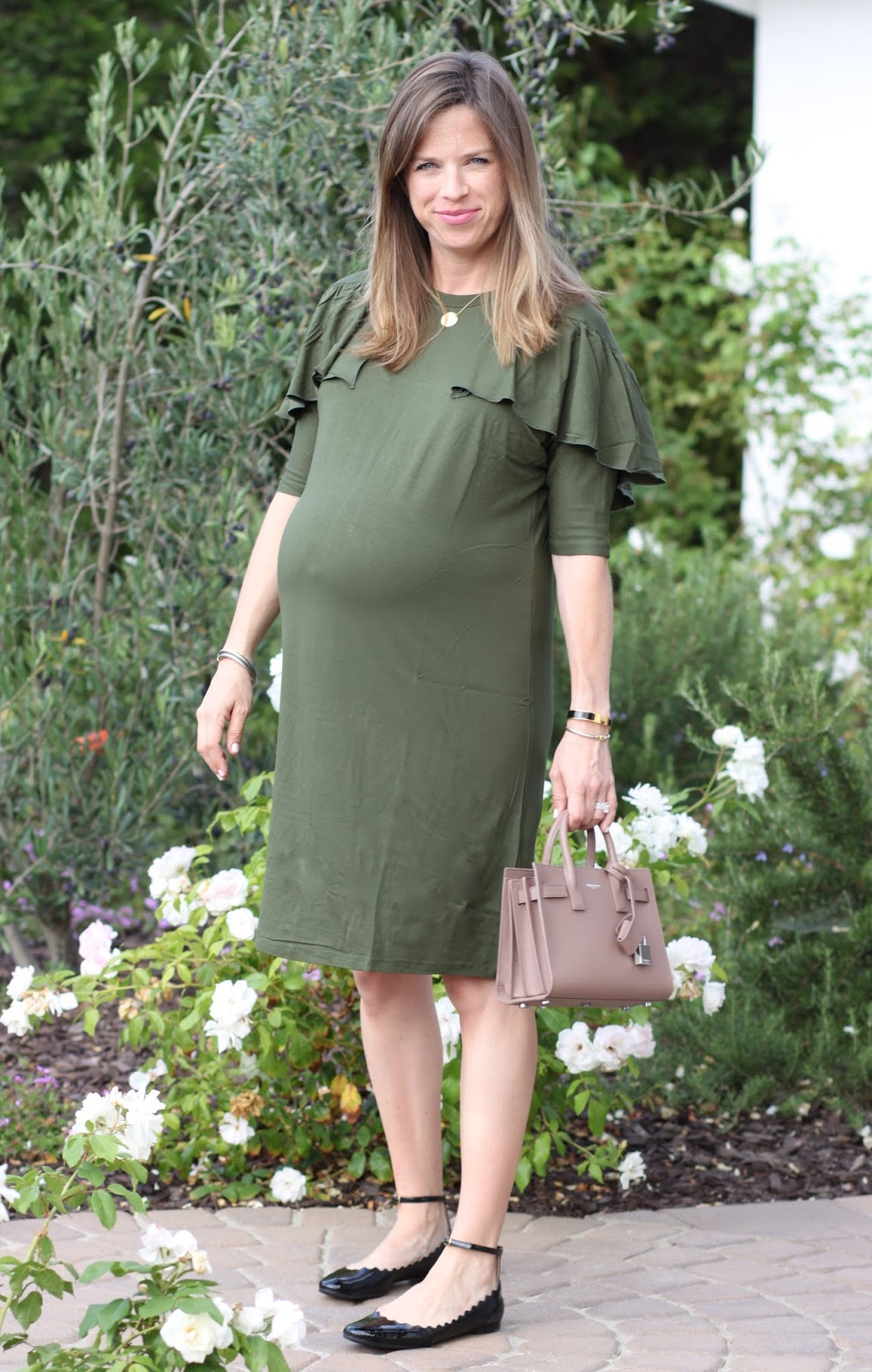 ruffle maternity dress