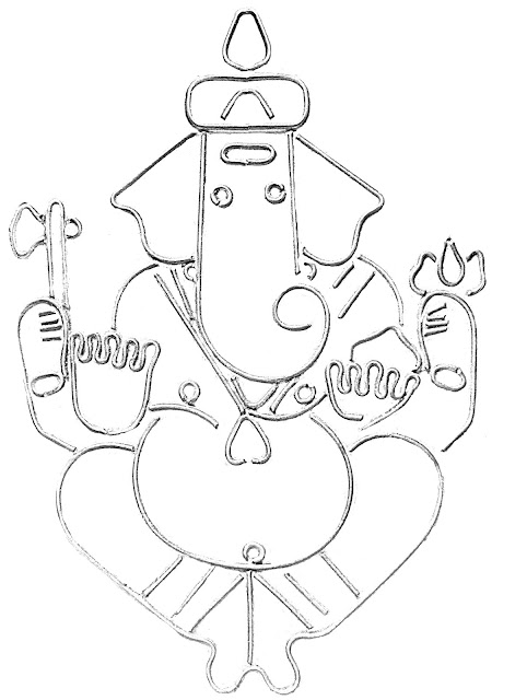 ganesh sketch on white background