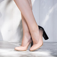 Pantofi dama Fabiola somon cu toc gros • modlet