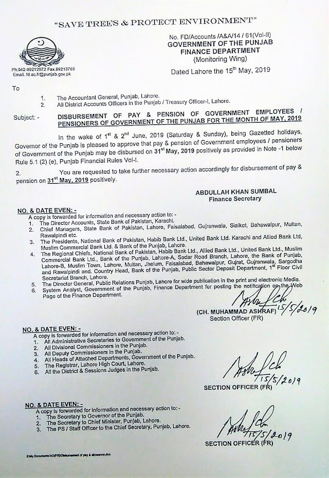 ADVANCE DISBURSEMENT OF PAY AND PENSION FOR THE MONTH OF MAY 2019