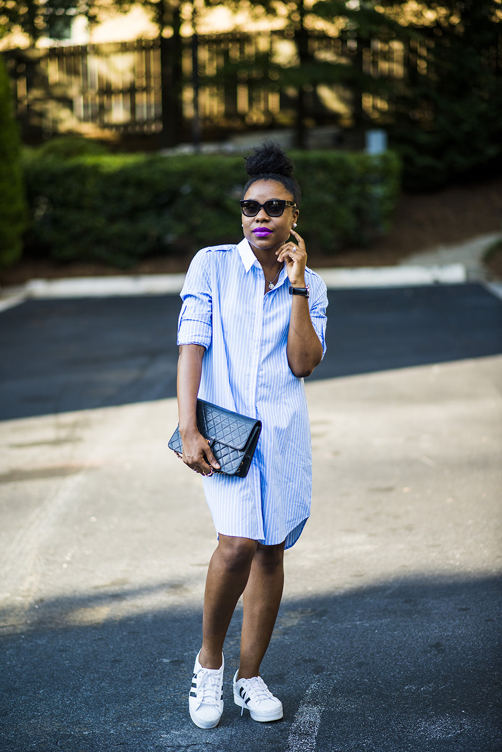 How to style your sneakers: Shirt Dress Edition