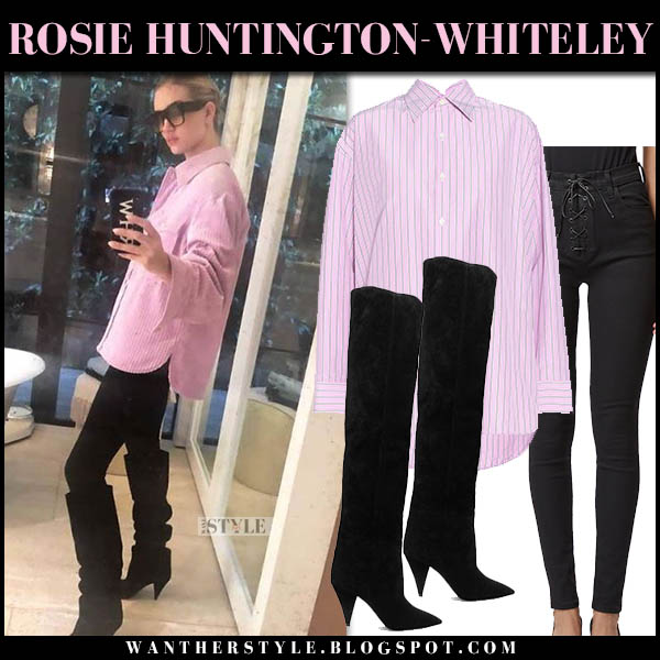 Rosie Huntington-Whiteley in pink striped shirt, black jeans and black knee boots saint laurent model style october 19