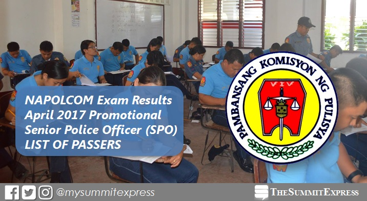 Senior Police Officer SPO Passers: April 2017 NAPOLCOM exam results