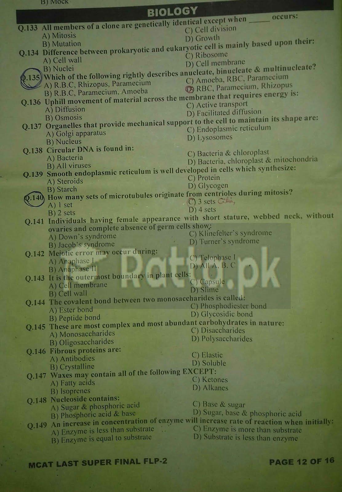KIPS MCAT Biology Full Length Paper-2 1