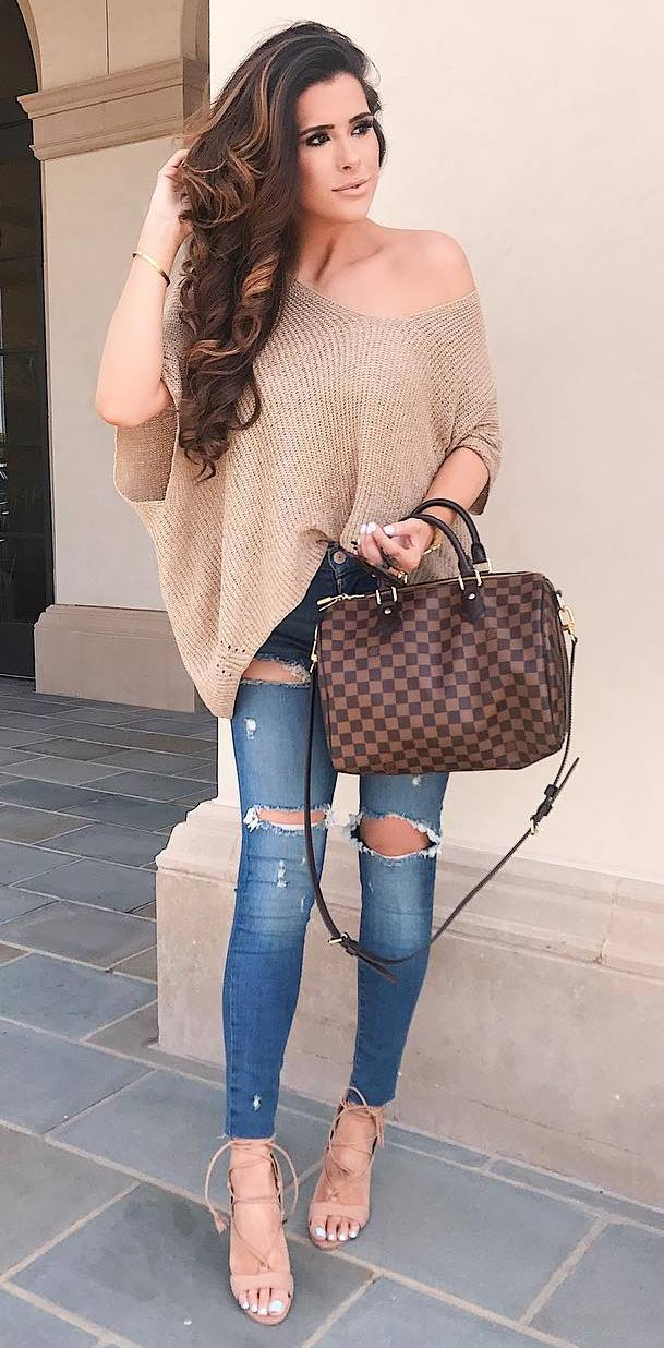 stylish look | one shoulder sweater + plaid bag + rips + heels