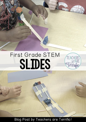 STEM Challenge: Build a slide. Some teams made a paper ramp for the slide and made it wide enough for the bear to travel down.