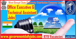 WBSEDCL Recruitment 2019 Apply for 1179 Office Executive and Technical Assistants
