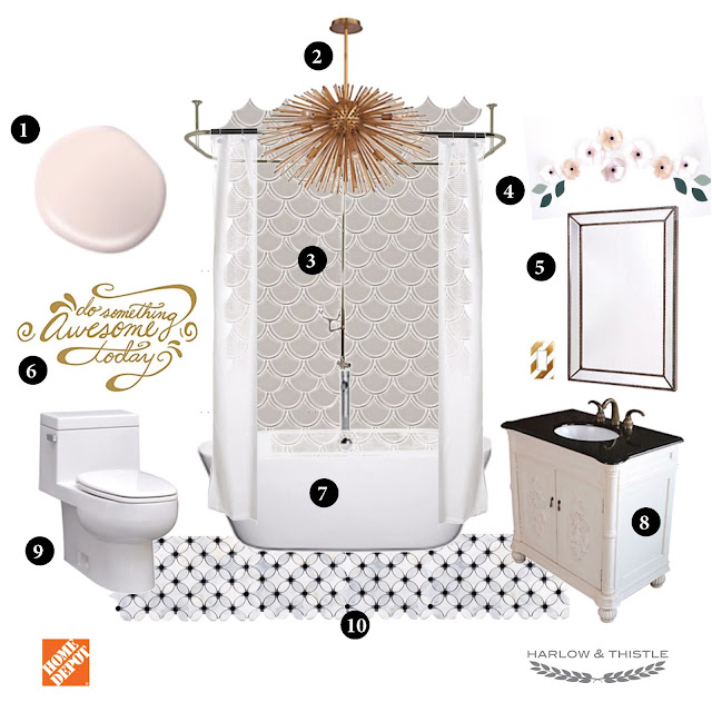 Teen Girl Bathroom Mood Board - Scalloped Mosaic Tile - The Home Depot Canada - Harlow and Thistle