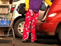 shoppers wearing pajamas