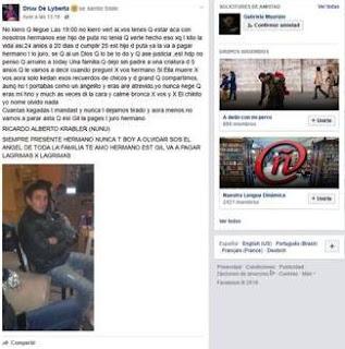 """El hermano de Ricardo Krabler, el joven que fue asesinado a balazos por el médico Lino Villar Cataldo cuando intentaba robarle el auto de la puerta de la casa en Loma Hermosa, prometió venganza contra el profesional. """"Ese gil va a pagar lágrima por lágrima"""", afirmó en su perfil de Facebook."""