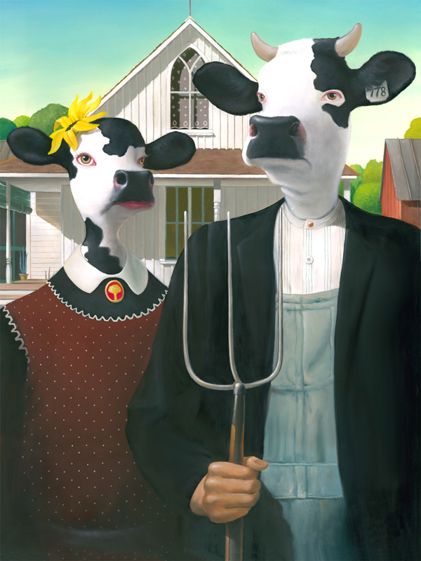 04-Cow-Gothic-American-Gothic-Grant-Wood-Geoffrey-Gersten-Surreal-and-Retro-Paintings-in-Modern-Times-www-designstack-co