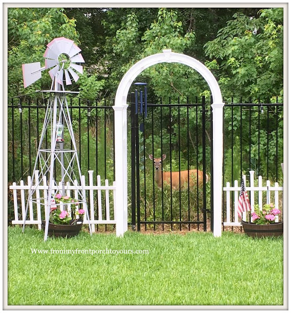 Suburban Farmhouse Backyard-White Arbor-Windmill-Country Suburban Garden-Picket Fence-Deer- From My Front Porch To Yours