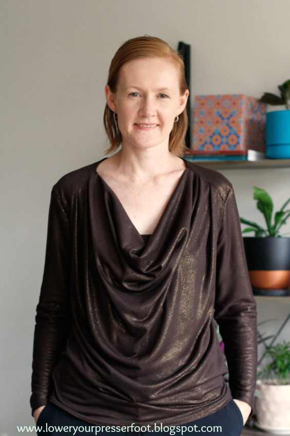 Burda drape top in bronze knit fabric