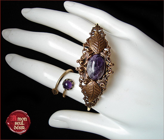 Parure Bijoux Amethyste Violet Bronze Elfique Féerique Woodland purple jewelery set amethyst