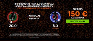 888sport bienvenida 150 euros + supercuota 20 o 8 gana Portugal o Francia 10 julio