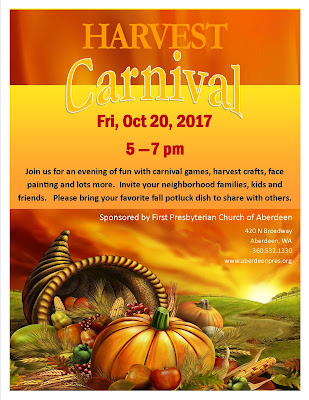 Harvest Carnival, Fri Oct 20, 2017 5-7pm at First Presbyterian Church of Aberdeen
