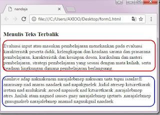 menulis teks terbalik dalam html