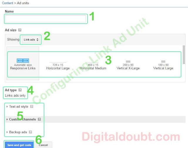 Configuring link ads unit