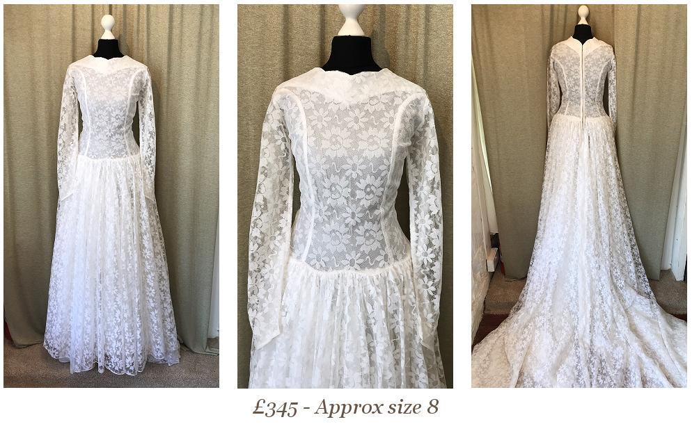 1950s 1960s Lace Wedding Dress