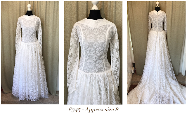 1950s 1960s lace long sleeve vintage wedding dress available from vintage lane bridal boutique bolton manchester