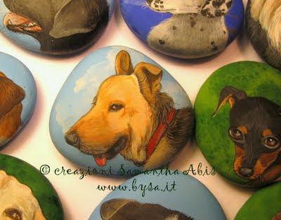 Idee originali  per bomboniere cani sassi