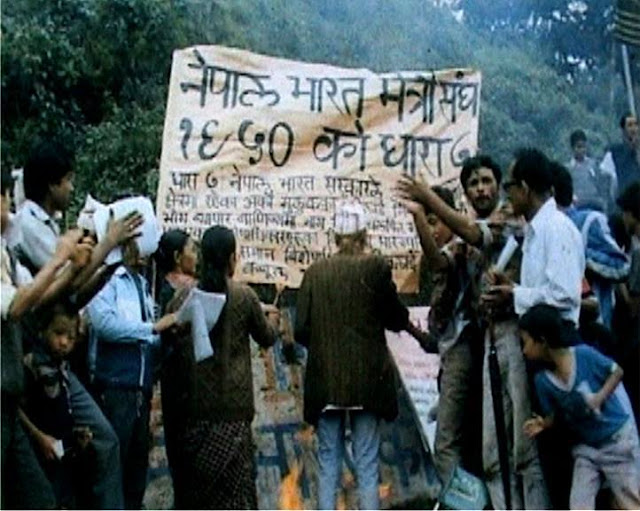 Gorkhalis burning Indo-Nepal Friendship Treaty in 1986 which lead to the Kalimpong Massacre, thus leading to violence in the hills in which over 1200 Gorkhas were killed