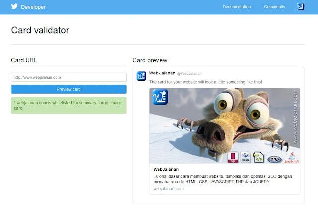 Webjalanan Twitter Card Validator