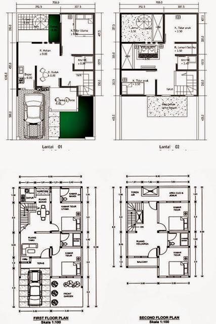 Contoh desain rumah minimalis type 36 2 lantai