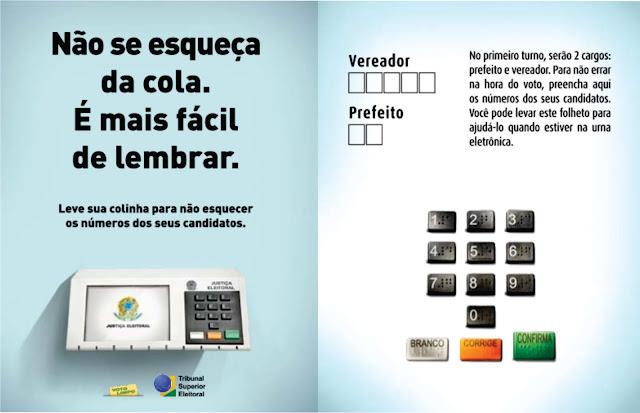 """Resultado de imagem para Falta 1 dia: não se esqueça de levar sua """"cola"""" eleitoral"""