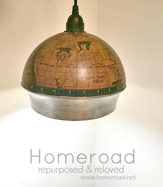 DIY Repurposed Ice Bucket Globe Hanging Light. Homeroad.net