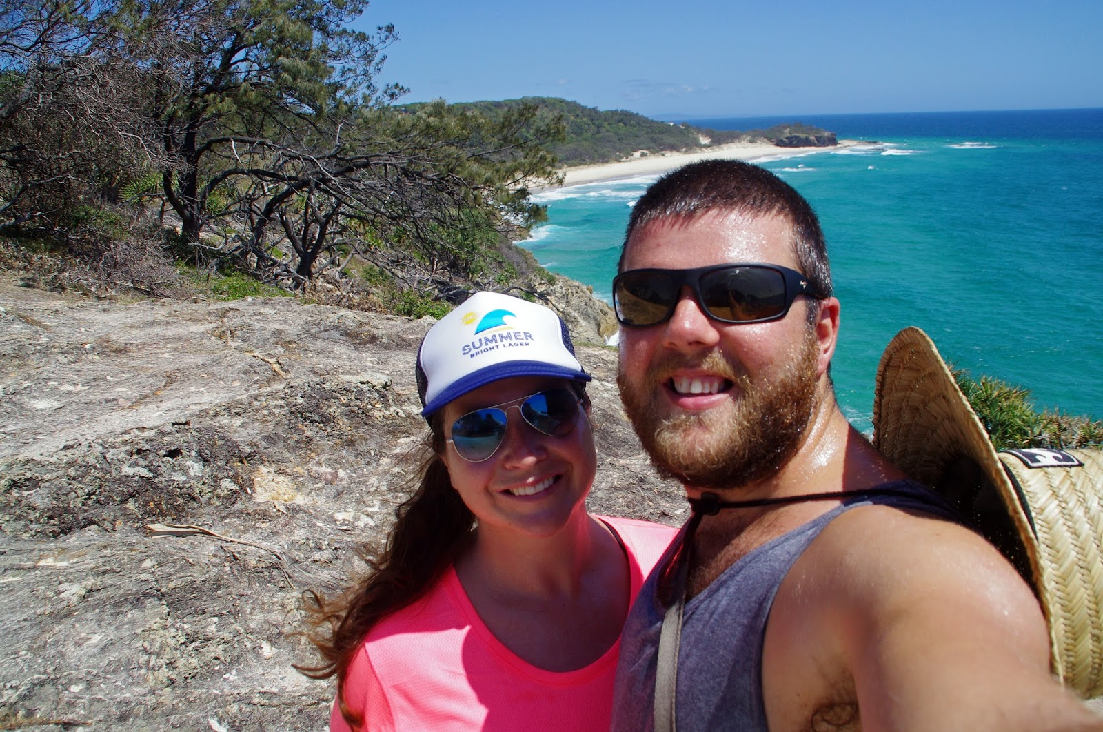 Couple hiking North Gorge Walk Stradbroke Island