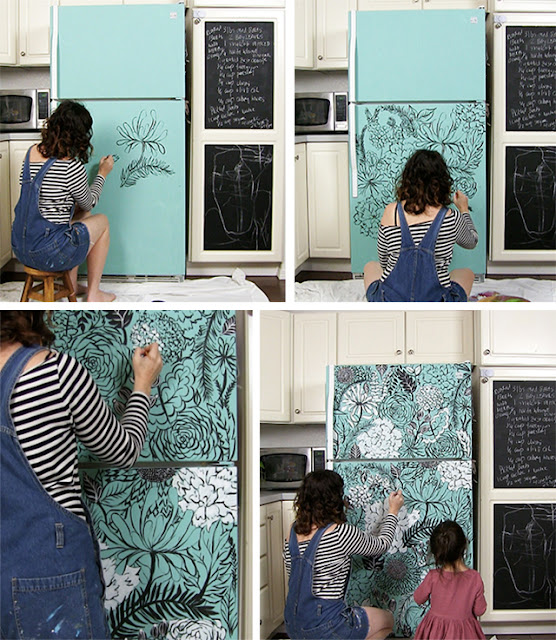 Painted,DIY painting design for fridge