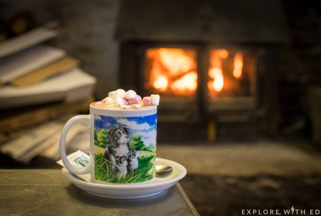 Hot chocolate and log fire at Waterfall's pub in Ystradfellte