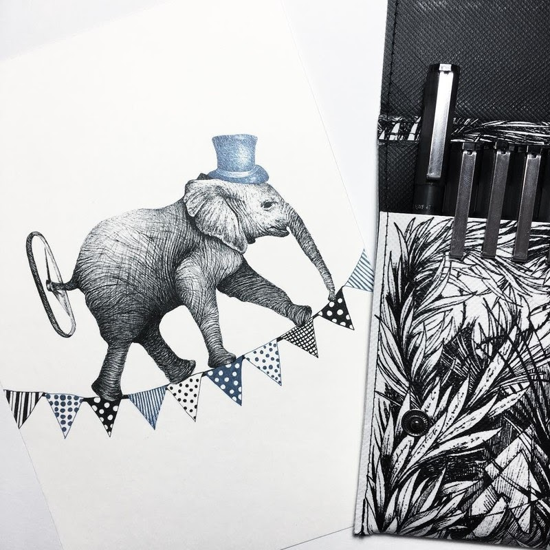 08-Elephant-on-the-Tightrope-Surreal-Animals-Mostly-Ink-Drawings-www-designstack-co