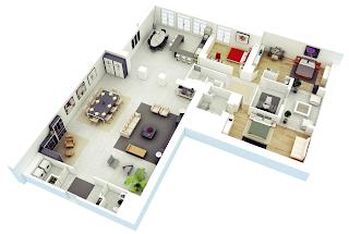 Contoh Denah Rumah minimalis 3 kamar berbentuk letter L 3D (tiga dimensi)