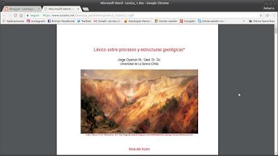 Léxico sobre Procesos y Estructuras Geológicas