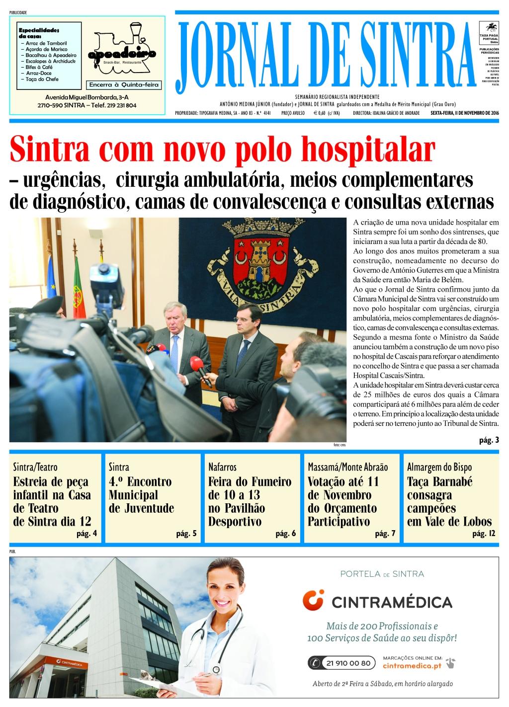 Capa da edição de 11-11-2016