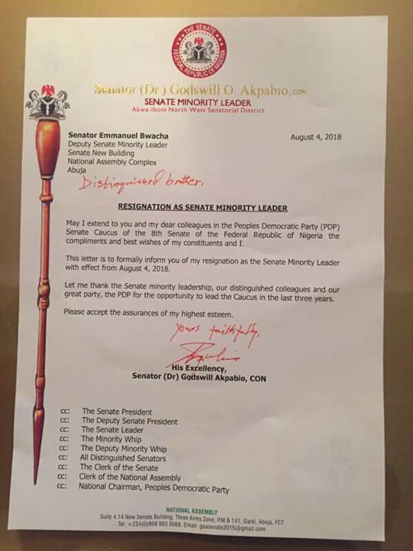 SENATOR AKPABIO RESIGNS AS MINORITY LEADER