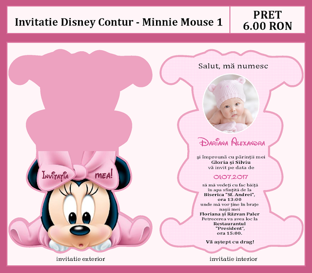 invitatii botez contur Minnie 3