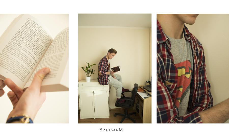 Mateusz czyta książkę.