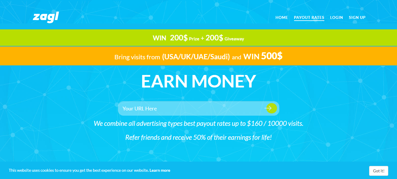 $200 Giveaway, $160 For 10,000 Visits, $2 Minimum Payout Via Paypal