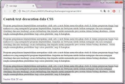 contoh text-decoration dalam CSS