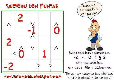 Sudoku, Sudoku con puntas, Números Enteros