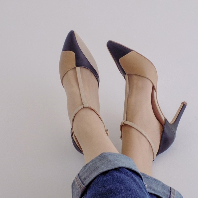 Kaleidoscope colourblock heels in nude, tan and black