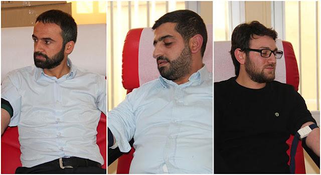 DİYARBAKIR-Geçen hafta Kızılay Genel Başkanı Kerem Kınık'ın, sosyal medya üzerinden kan stoklarının azaldığını duyurması üzerine kan verme kampanyası başlatan HÜDA PAR Gençlik Kolları, Diyarbakır'da kan bağışında bulundu.