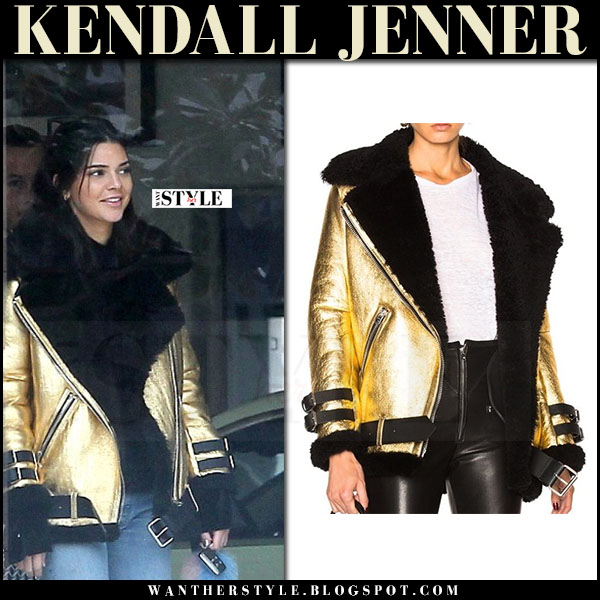 Kendall Jenner in gold metallic jacket acne velocite what she wore